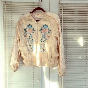 Light pink embroidered bomber jacket